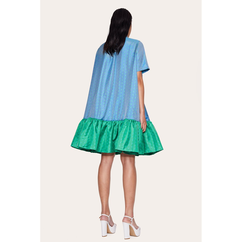 Stine Goya Wendy Hi Nk Ruffled Dress Green Blue Dots