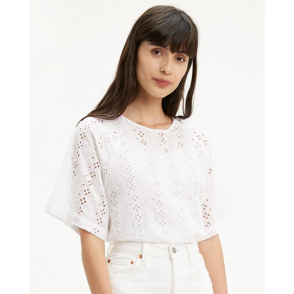 Levis S/S Eyelet Crop Top Alejandra White