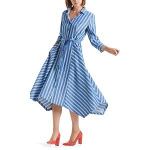 L/S Stripe Shirt Dress-Belt Atlantic Blue