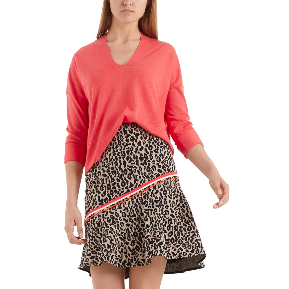 Marc Cain V/Nk Fine Knit Sweater Light Red