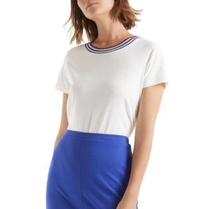 S/S Stripe Neck T-Shirt Off White
