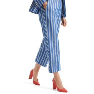 Marc Cain Stripe Wide Leg Crop Trouser Atlantic Blue