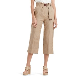 Checked Cropped Trousers Clay