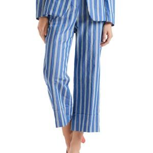 Stripe Wide Leg Crop Trouser Atlantic Blue