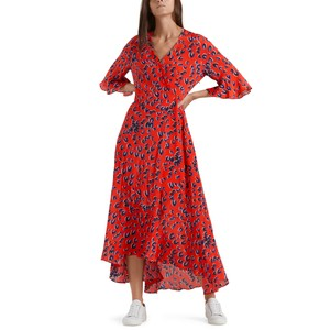 Long V/N Wrap Dress Candy Apple