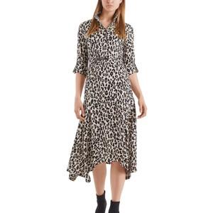 L/S Leopard Print Dress Cuban Sand