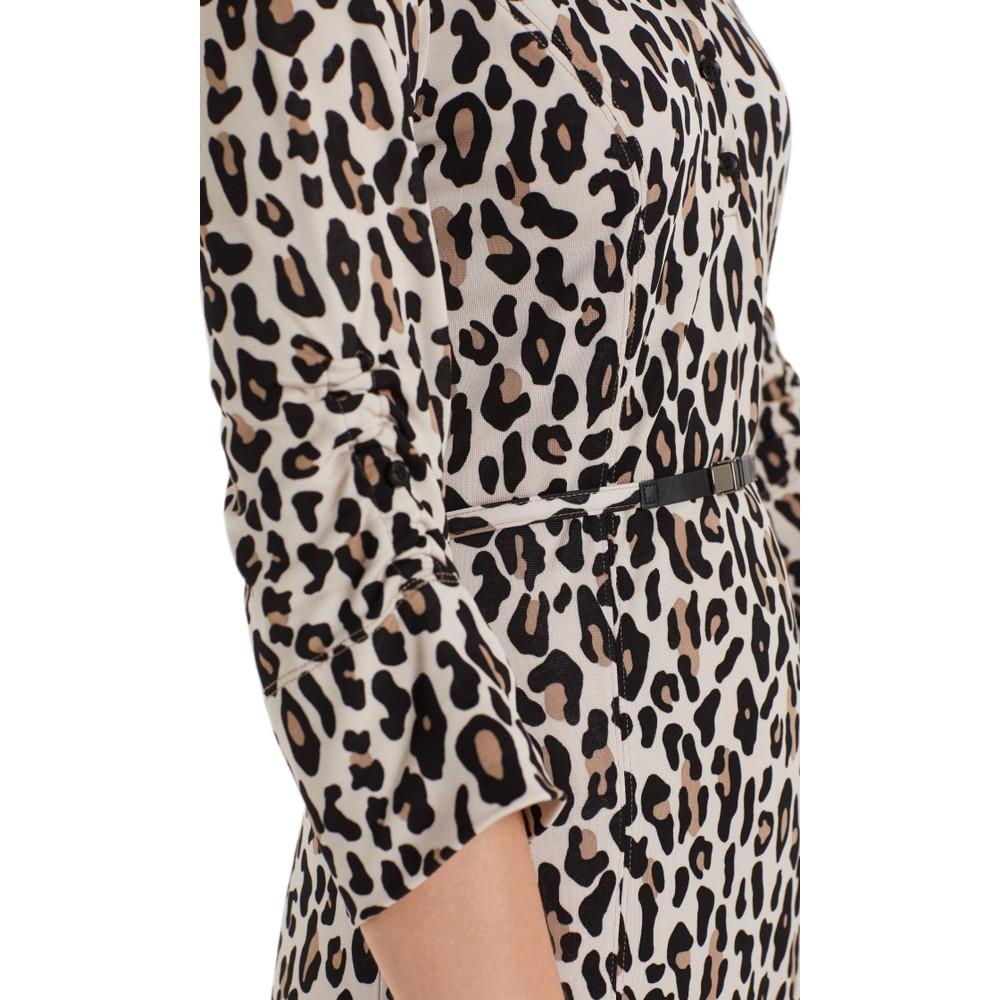Marc Cain L/S Leopard Print Dress Cuban Sand