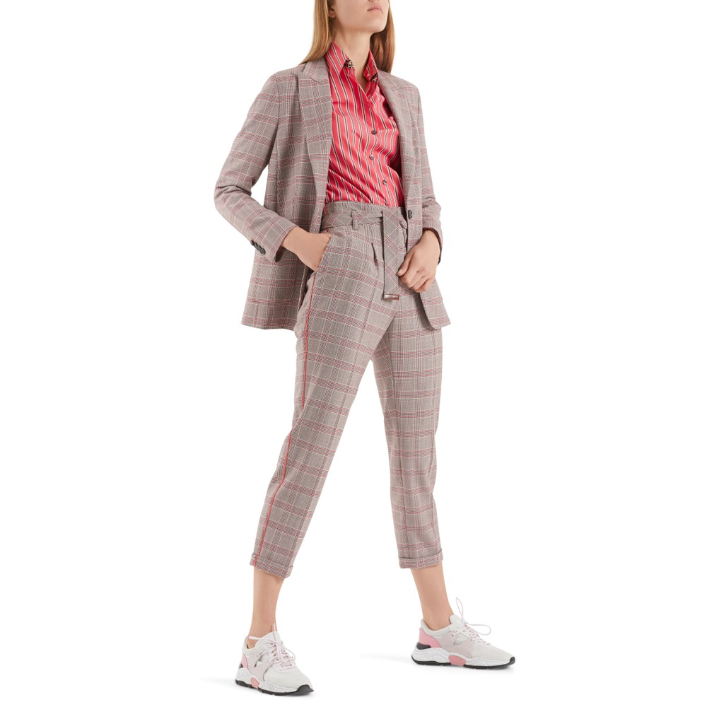 Marc Cain Side Stripe Check Trousers Light Red