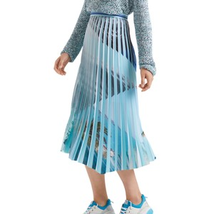 Printed Panels Pleat Skirt Aqua