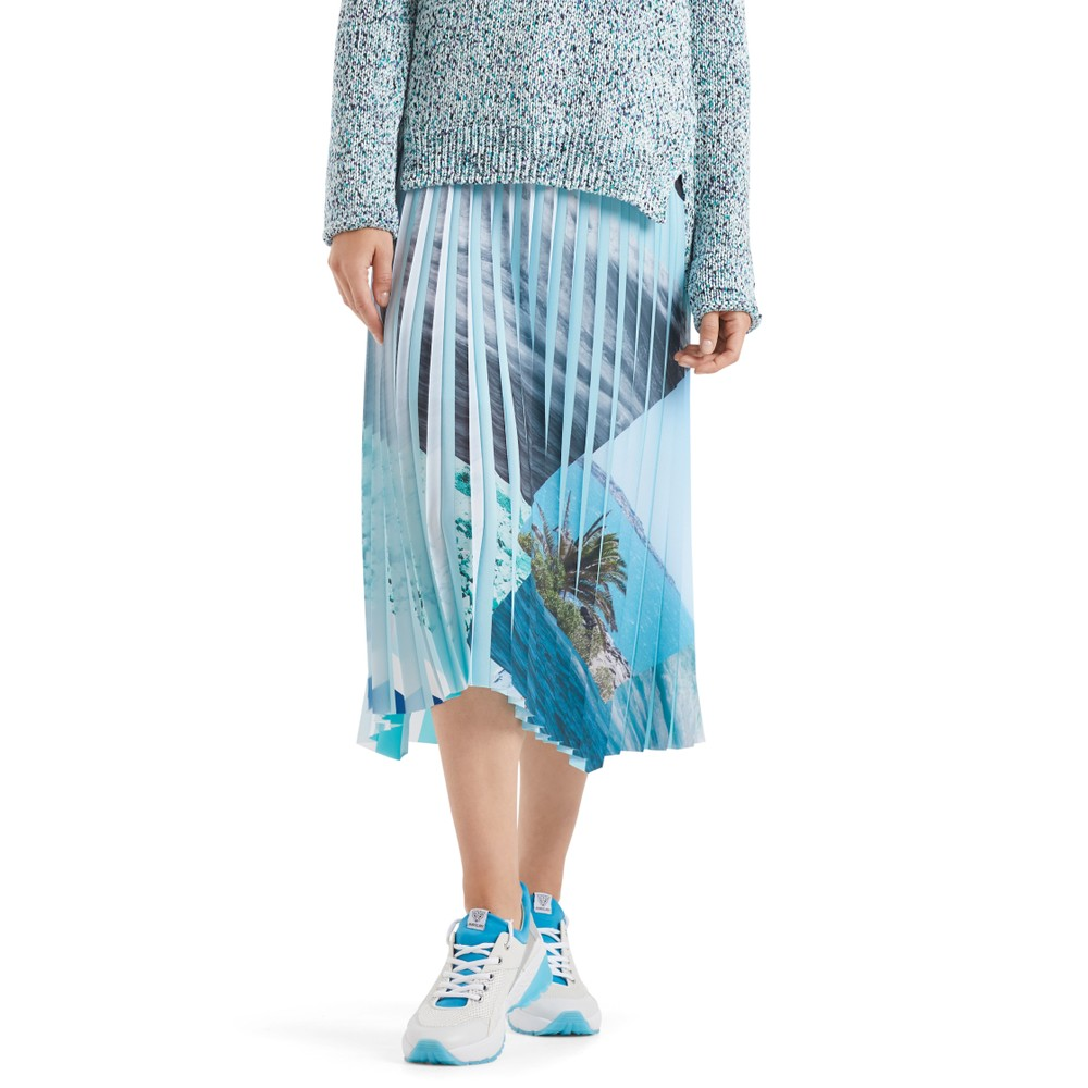 Marc Cain Printed Panels Pleat Skirt Aqua