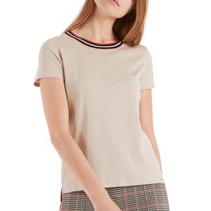 S/S Stripe Neck T-Shirt Cuban Sand