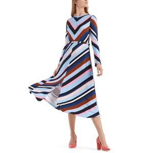 L/S Multi Striped Midi Dress Gouache