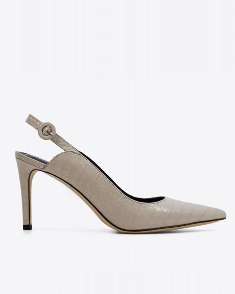 Lola Cruz Croc Print Pointed Shoe Off White