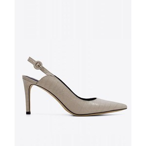 Croc Print Pointed Shoe Off White