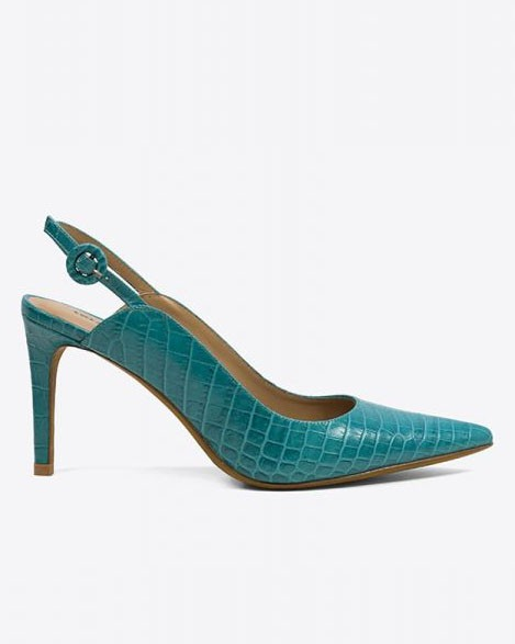 Lola Cruz Croc Print Pointed Shoe Turquoise