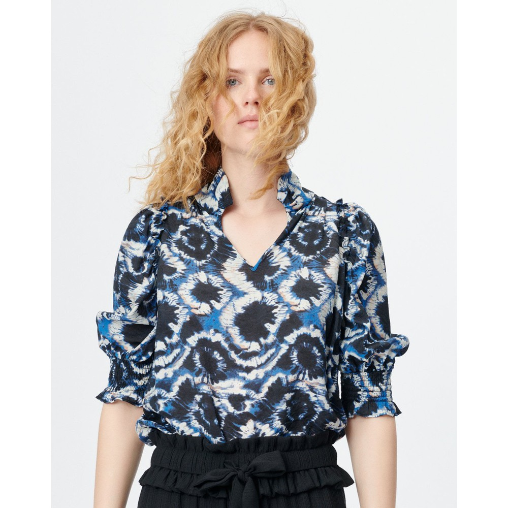 Munthe Modest Tie Dye V/N Blouse Dark Blue
