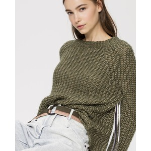 Luisa Cerano Metallic Knit Chunky Jumper Rough Khaki