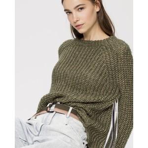 Metallic Knit Chunky Jumper Rough Khaki