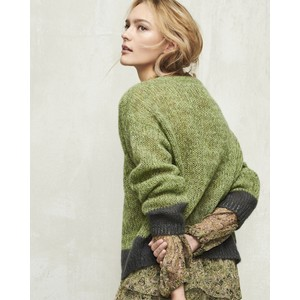 Contrast Trim Mohair Jumper Pea Green/Charcoal