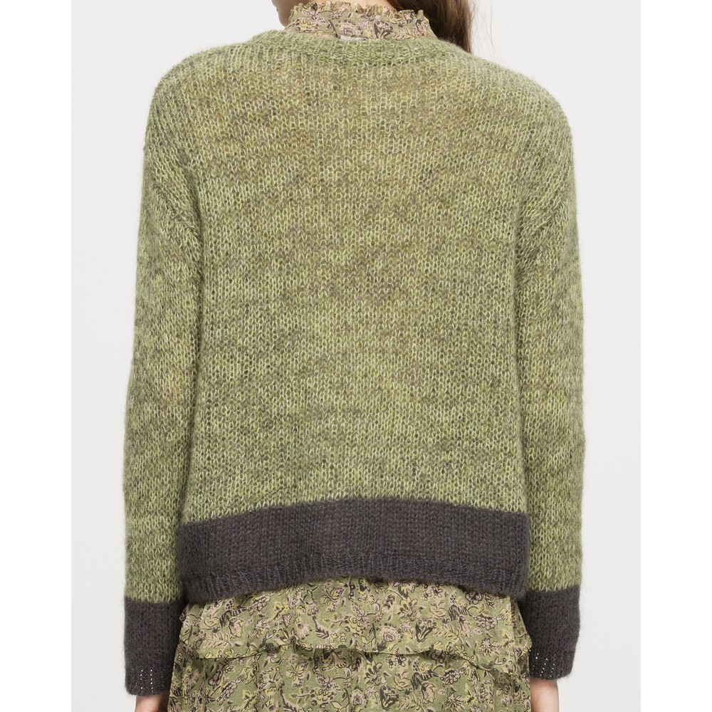 Luisa Cerano Contrast Trim Mohair Jumper Pea Green/Charcoal