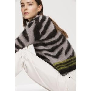 Luisa Cerano Contrast Trim Tiger Stripe Knit Light Grey/Black/Olive