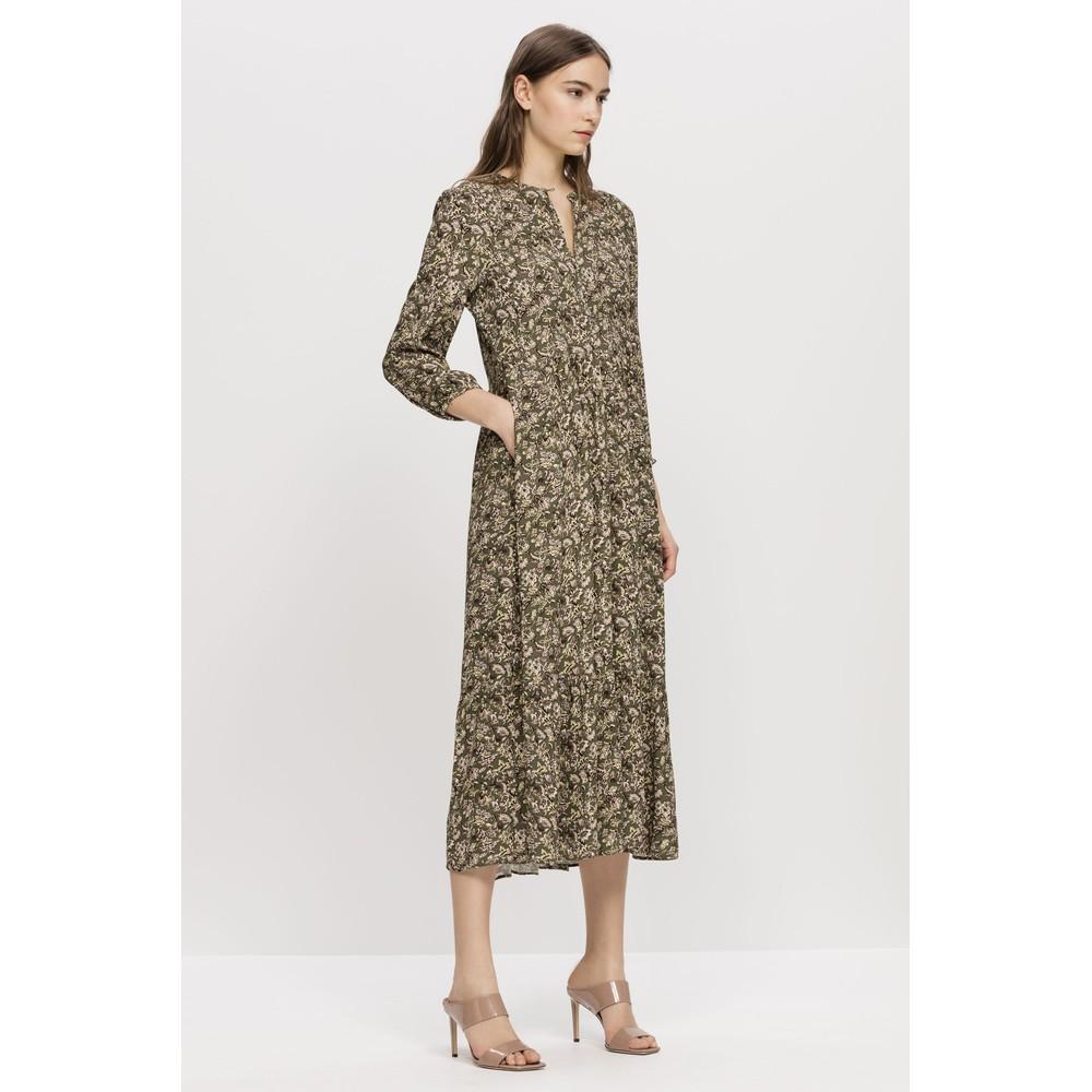 Luisa Cerano Floral Print Maxi Dress Olive/Multi