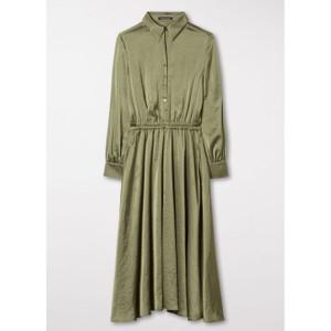 Luisa Cerano L/S Stretch Wst Blouse Dress Olive