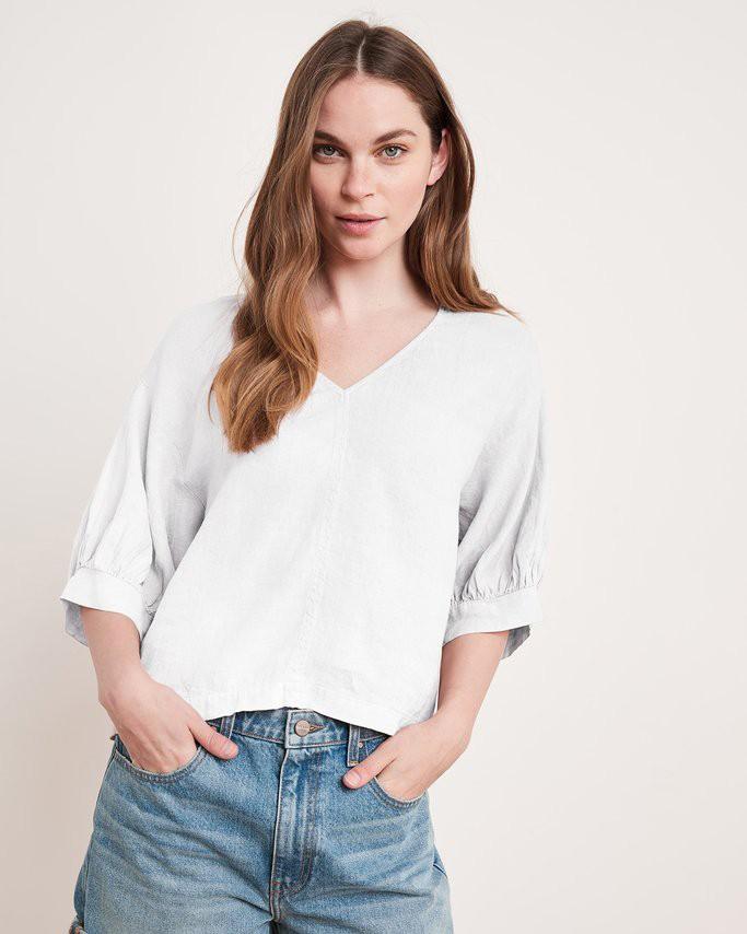 Velvet Tayler Short Bln Slv V/N Top White
