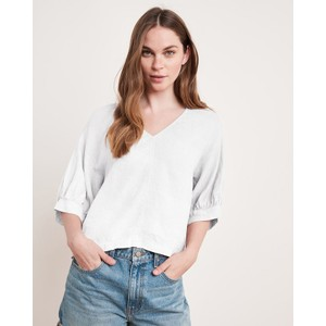 Tayler Short Bln Slv V/N Top White