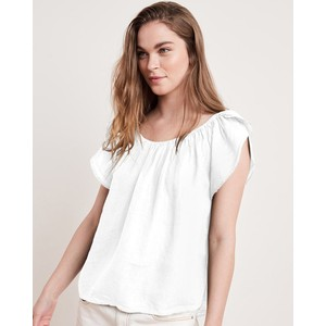 Ceila Elst Wide Nk Linen Top White