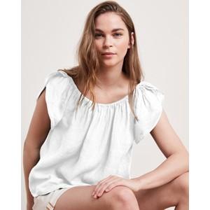 Velvet Ceila Elst Wide Nk Linen Top White