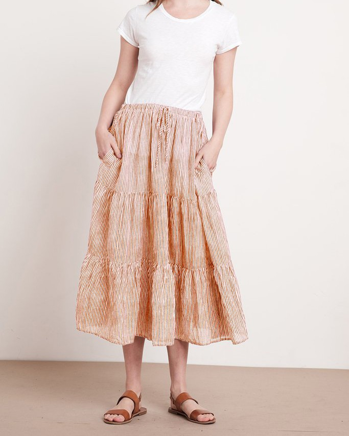 Velvet Dina Stripe Midi Skirt Tan/Natural