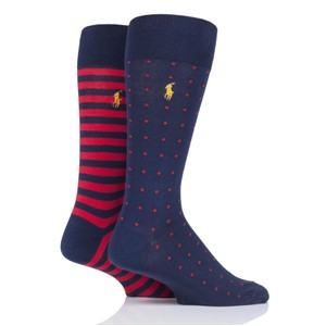 2 Pk Dot/Stripe Socks Cruise Navy/Red