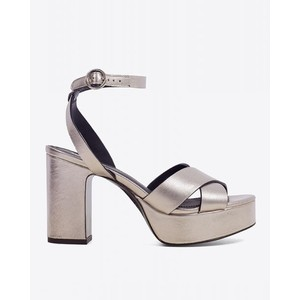 X Over Heeled Shoe-Ankle Strap Platinum