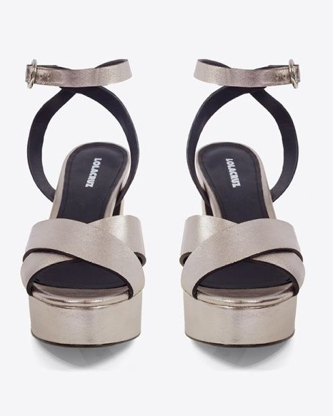 Lola Cruz X Over Heeled Shoe-Ankle Strap Platinum