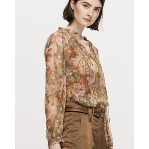 Sheer Silk Floral Blouse Blush/Multi
