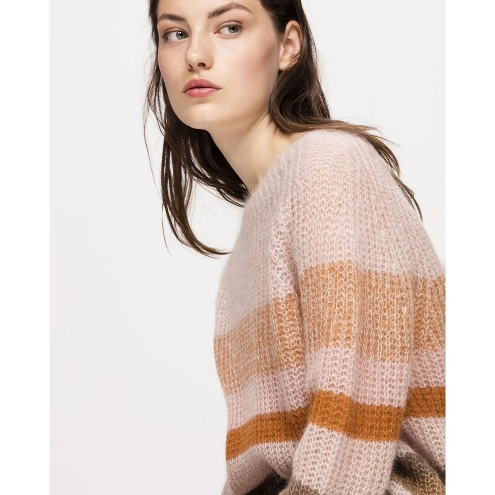 Luisa Cerano Striped Loose Knit Jumper Blush/Multi