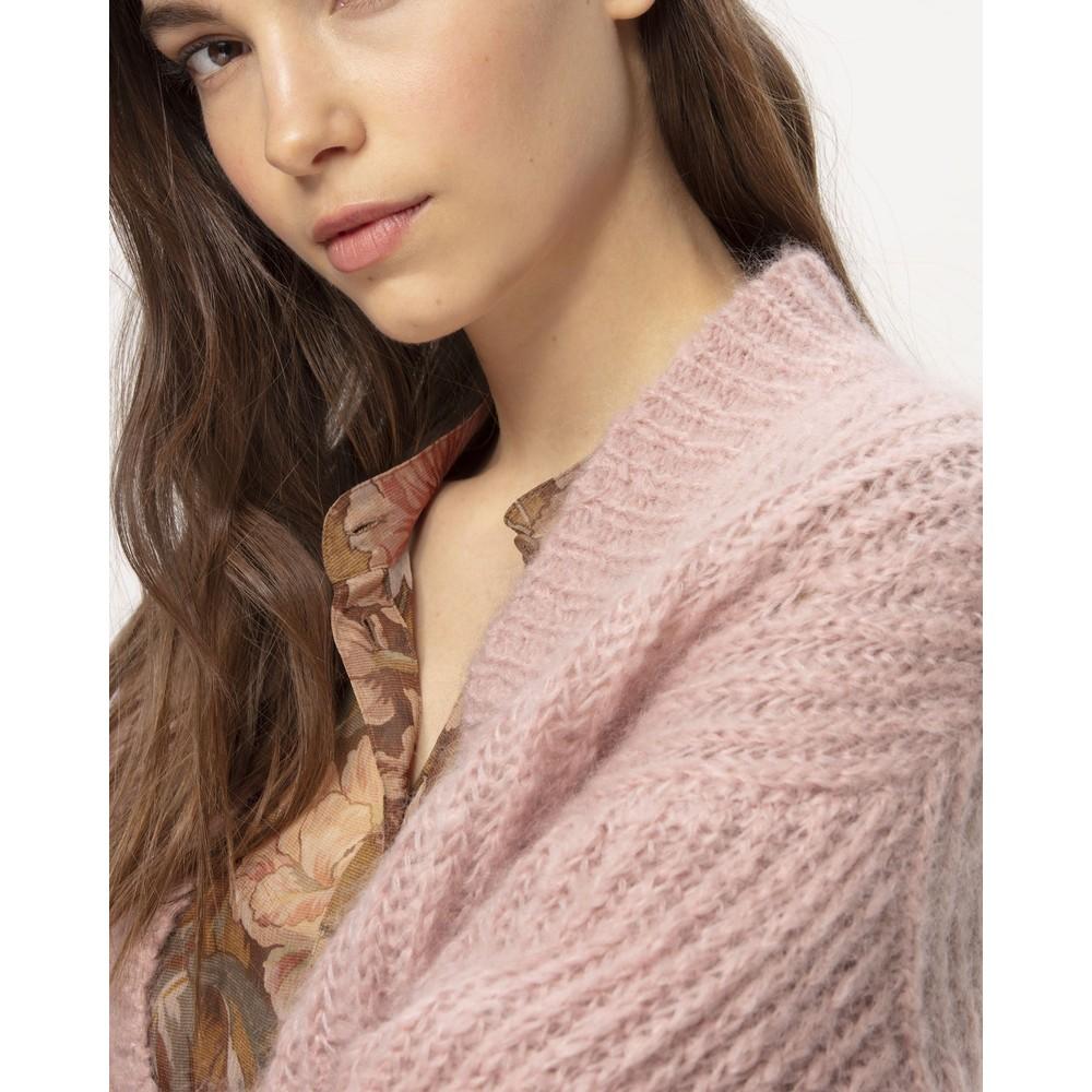 Luisa Cerano Cropped Open Mohair Cardi Blush