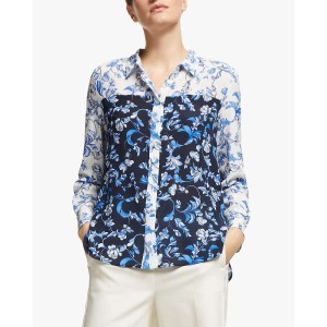 Lupino Block Col Floral Shirt White/Blue