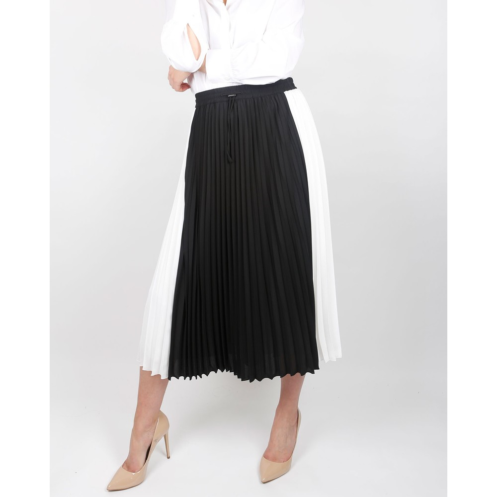 Luisa Cerano Pleated Monochrome Skirt Black/White