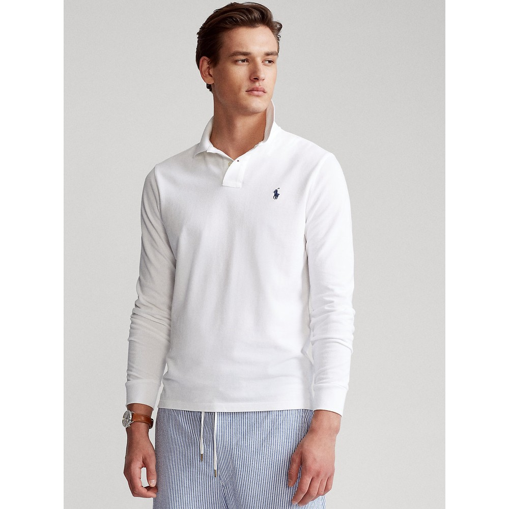 Polo Ralph Lauren L/S Custom Slim Fit Logo Polo White