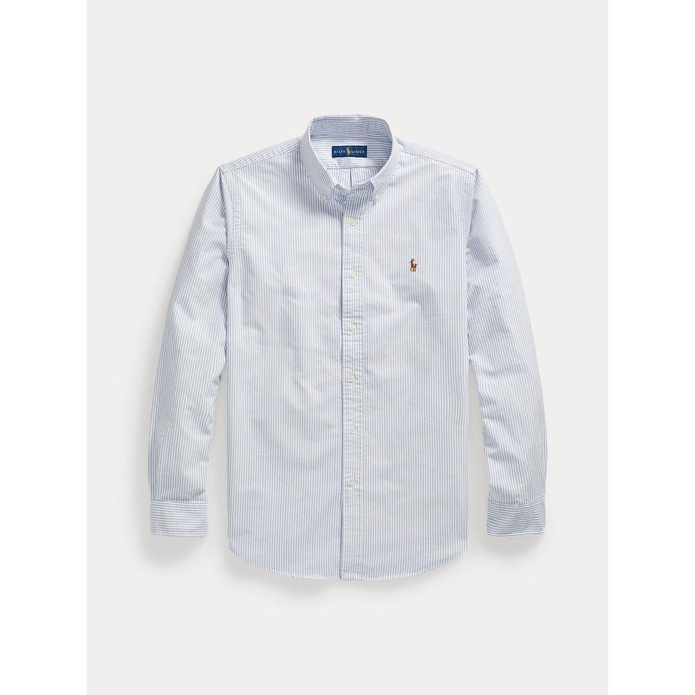 Polo Ralph Lauren L/S Logo Custom Sport Shirt Blue/White Stripe