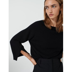 Abbado Split Cuff Wide Nk Knit Black