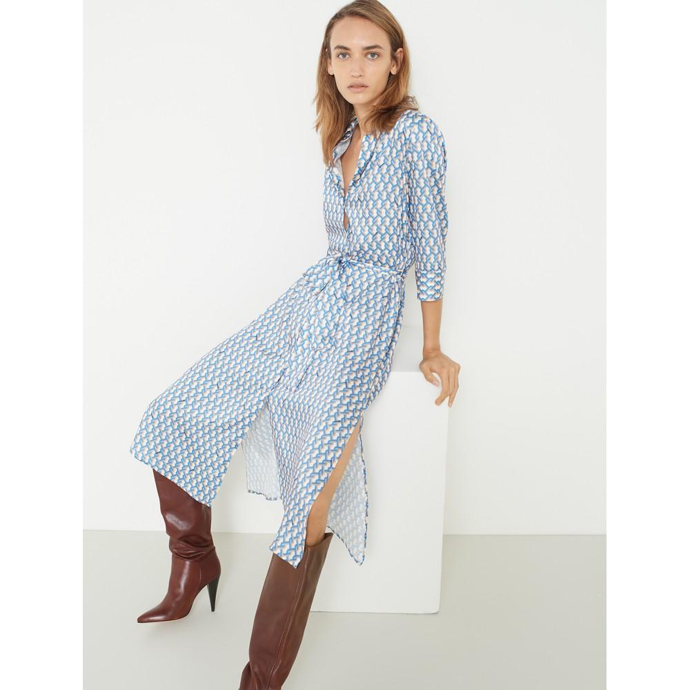 Marella Mendoza Chain Link Shirt Dress Off White/Gold/Blue