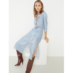 Mendoza Chain Link Shirt Dress Off White/Gold/Blue