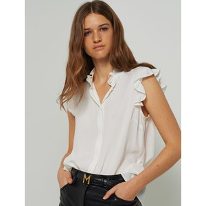Yelina S/L Riffled Blouse Off White