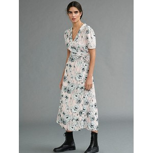 S/S Floral Wrap Dress Powder/White