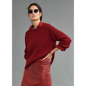 Beaded Nk Rib Knit Jumper Amarena