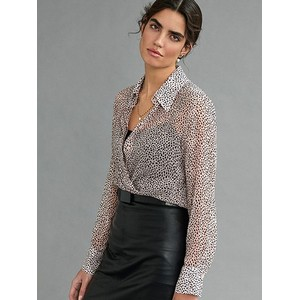 Speckle Print Sheer Blouse Powder/Black