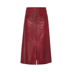 Riani A Line Leather Skirt w Pkts Amarena